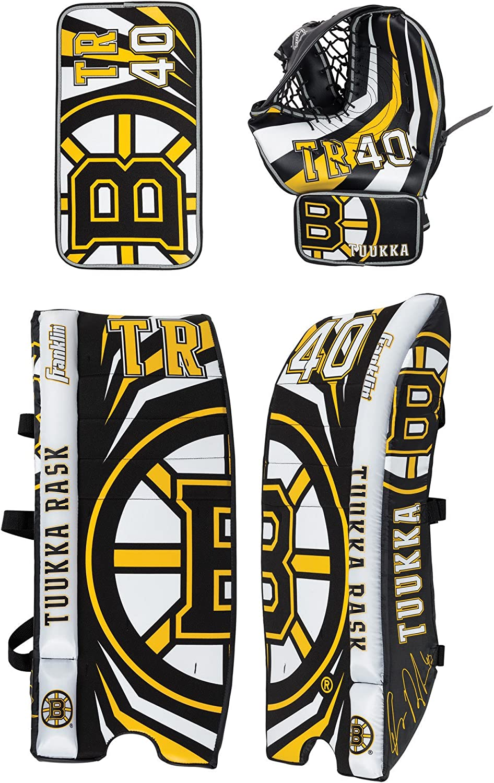 Franklin Sports Tuukka Rask Tuukka Rask Street Hockey Goalie Equipment Set - L/XL Goalie Pads Catch Glove & Blocker - NHL Official Licensed Product : Sports & Outdoors