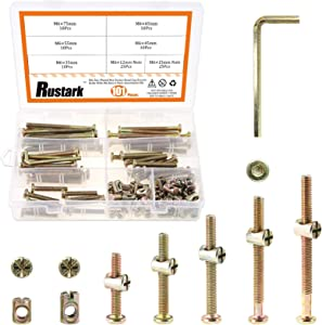 Rustark 100Pcs M6x35/45/55/65/75mm Zinc Plated Hex Drive Socket Head Cap Screws Nuts Furniture Bolts with Barrel Nuts Assortment Kit for Furniture Cots Beds Crib and Chairs