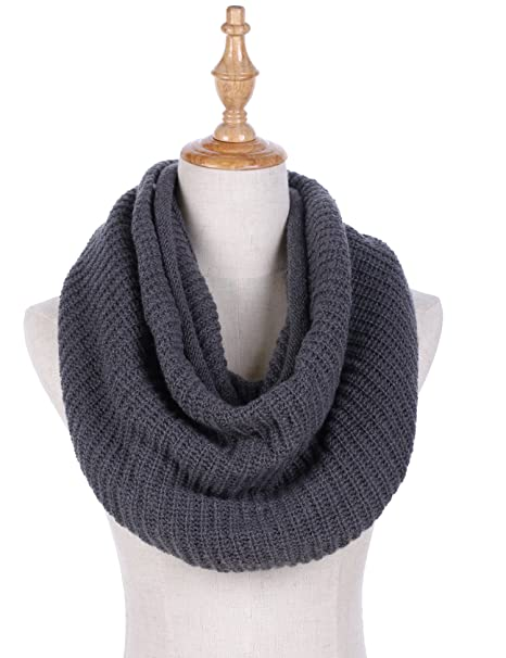 ced6ef01c Women Winter Knit Infinity Scarf Fashion Circle Loop Scarves Thick Warm Cowl  Grey