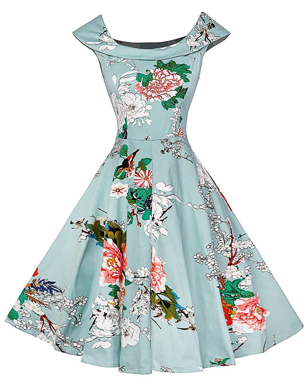 FitDesign Women's 1950s A Line Vintage Dresses Audrey Hepburn Style Floral Party Dress Red Floral Large Red Floral Large