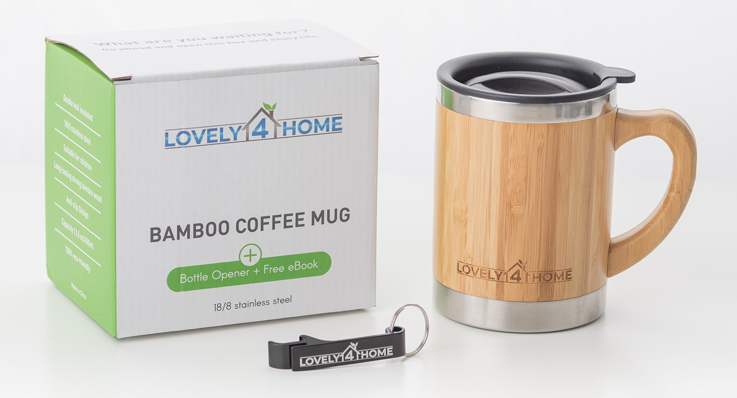 Bamboo Insulated Coffee Mug with Lid - Great Travel Design - Larger 13.5 Ounce Size - Wooden Handle and Barrel - Stainless Steel - Double Wall Insulation - Ideal for Coffee, Tea, Cold Drinks by Lovely 4 Home (Image #3)