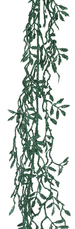 FESTIVE PRODUCTIONS P001008 180cm Glittered Mini Leaf Garland, Rich Green