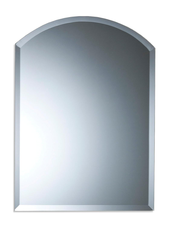 Schöner gewölbter Badezimmerspiegel, modern und stylish,  mit abgerundeten Kanten, Wandbefestigung, Badspiegel, Wandspiegel, Spiegel 50cm X 40cm
