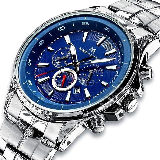 a3db4258c898 Relojes Hombre Relojes de Pulsera Militares Cronógrafo Impermeable  Luminosos Lujo Azul Reloj de Acero Inoxidable Deportivo Calendario  Diseñador de ...