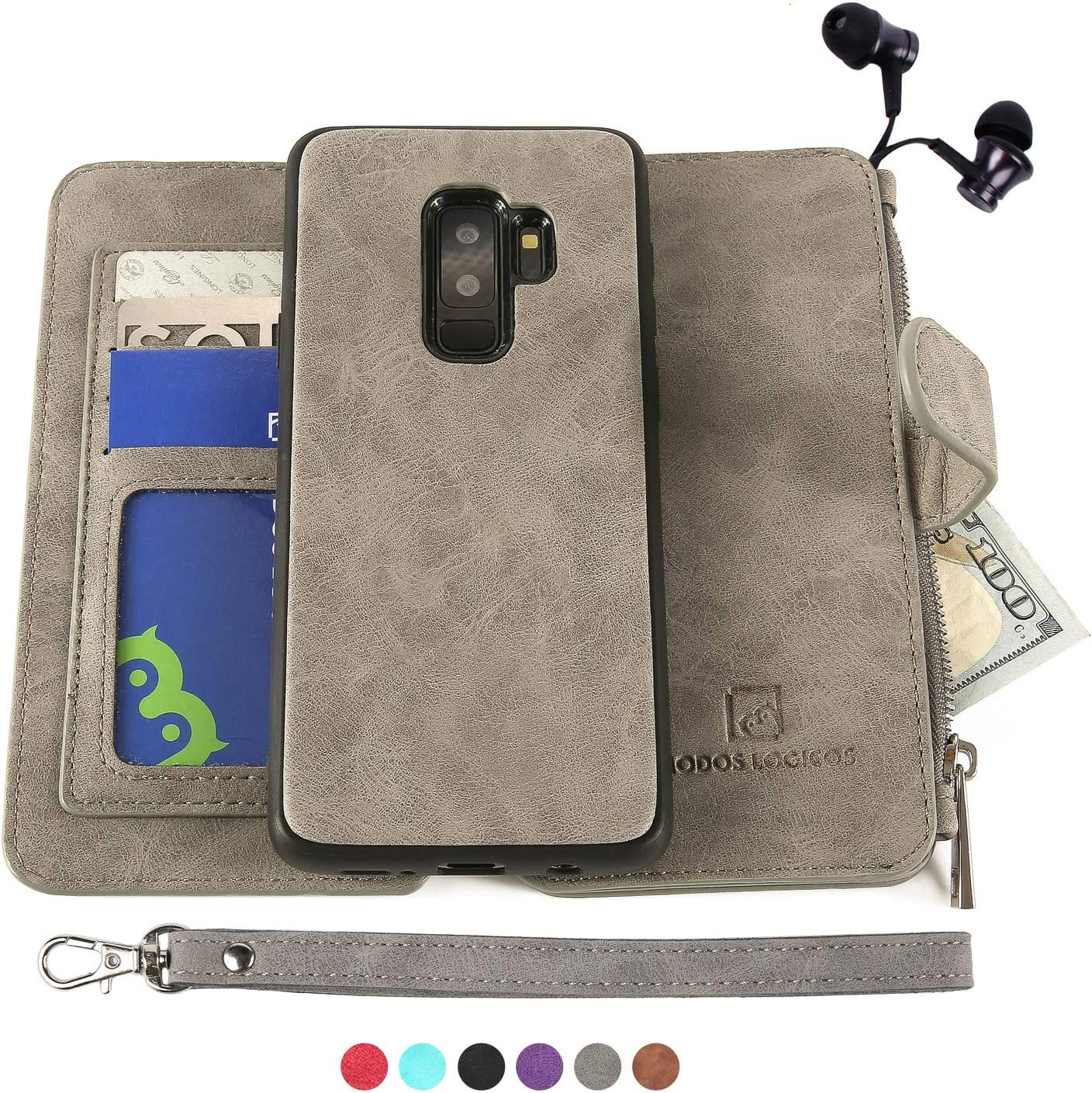 Samsung Galaxy S9 Plus Case, [Detachable Wallet Folio][2 in 1][Zipper Cash Storage][Up to 14 Card Slots 1 Photo Window] PU Leather Purse Clutch with Removable Inner Magnetic TPU Case - Grey