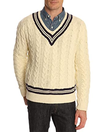 cb12e0ce2 POLO Ralph Lauren - Pulls col V - Homme - Pull Cricket Cable Crème ...