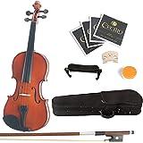 Mendini 1/2 MV200 Solid Wood Natural Varnish Violin with Hard Case, Shoulder Rest, Bow, Rosin and Extra Strings