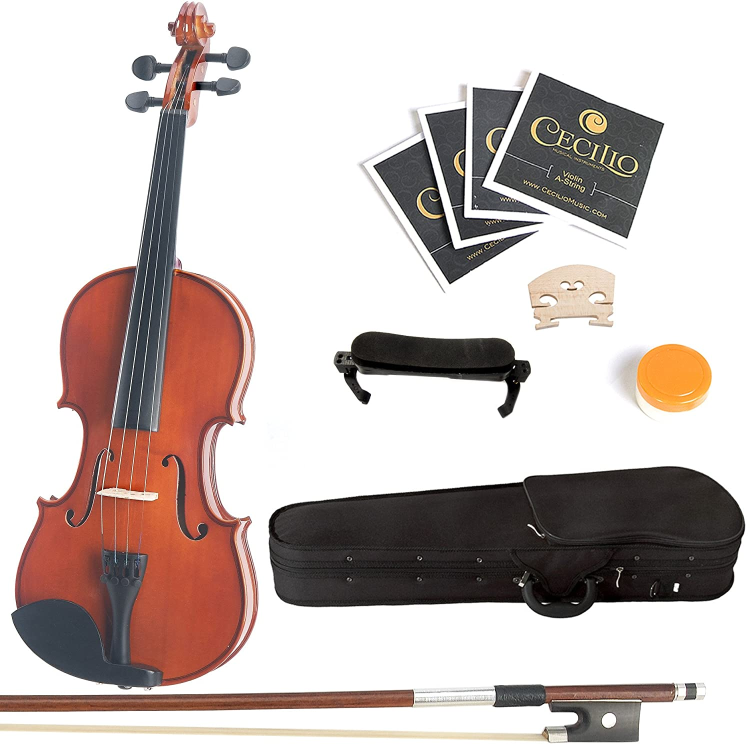 Mendini 1/4 MV200 Solid Wood Natural Varnish Violin with Hard Case, Shoulder Rest, Bow, Rosin and Extra Strings 1/4MV200