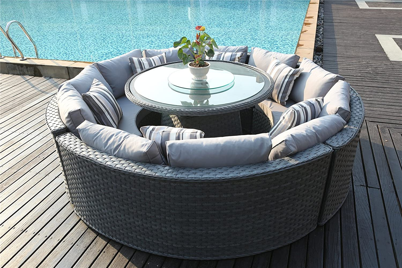 Yakoe Monaco 10 Seater Round Rattan Outdoor Patio Garden Furniture Dining  Table Sofa Set   Grey: Amazon.co.uk: Garden U0026 Outdoors