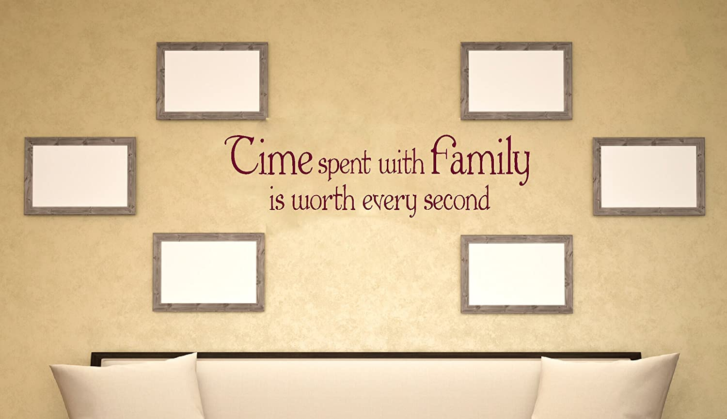 Wall Decor Plus More WDPM3294 Time Spent With Family Worth Every Second Vinyl Sticker Wall Decal Saying Quote Lettering 36 x 10-Inch Burgundy