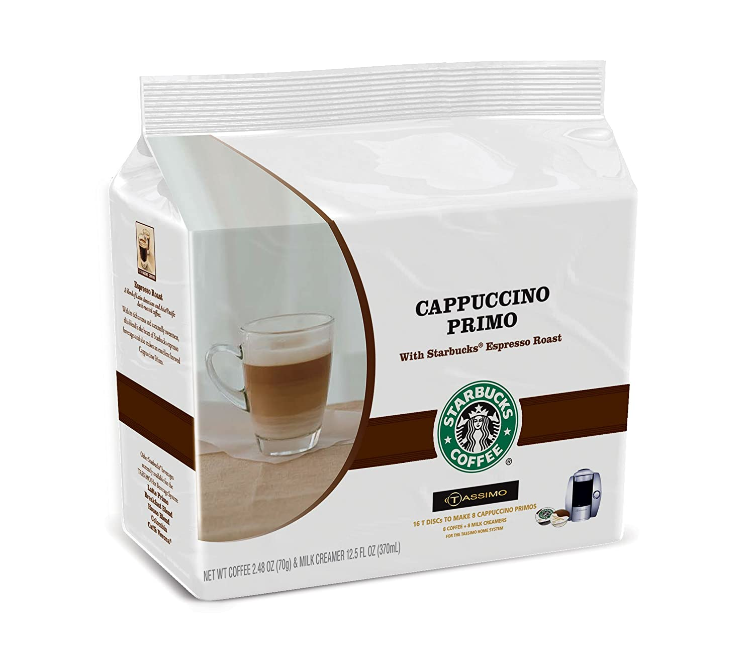 Starbucks Cappuccino Primo, T-Discs for Tassimo Coffeemakers, 8 Count  Packages (Pack of 2)