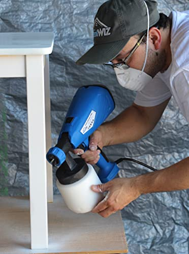 Powerful 400W indoor/outdoor rated all-in-one handheld sprayer like PaintWIZ Handheld Pro Paint Sprayer For Lacquer