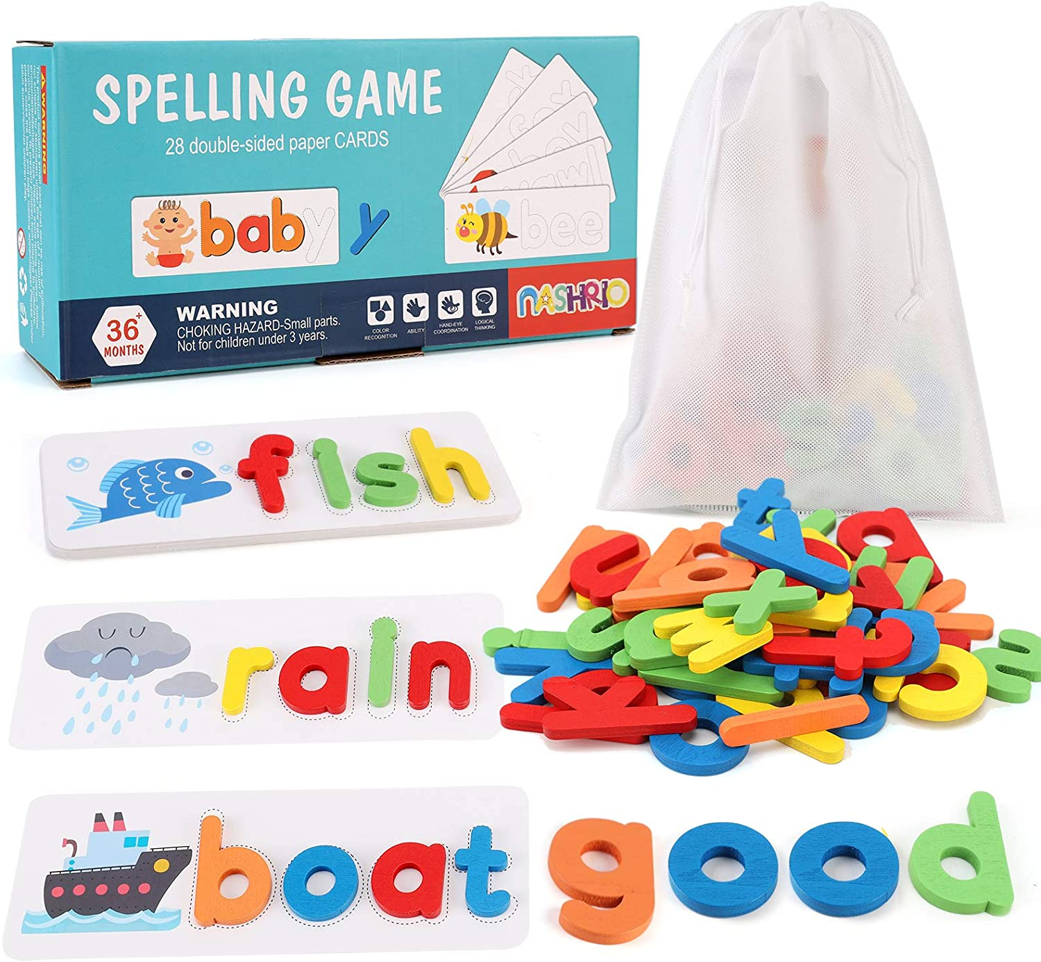 See and Spelling Learning Toy for Kids Ages 3-8, Wooden Preschool Educational Matching Letter Game Toys for Kids Boys Girls, Develops Alphabet Words Spelling Skills Letter Block (28 Cards+52 Letters)