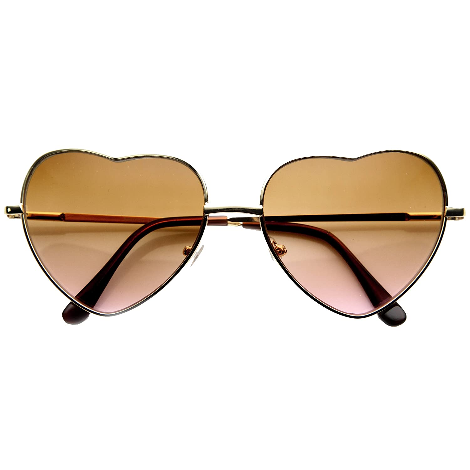 7bef1de3ebe Amazon.com  Womens Fashion Metal Color Tint Lens Heart Shaped Sunglasses  (Light-Gold Amber-Pink)  Clothing