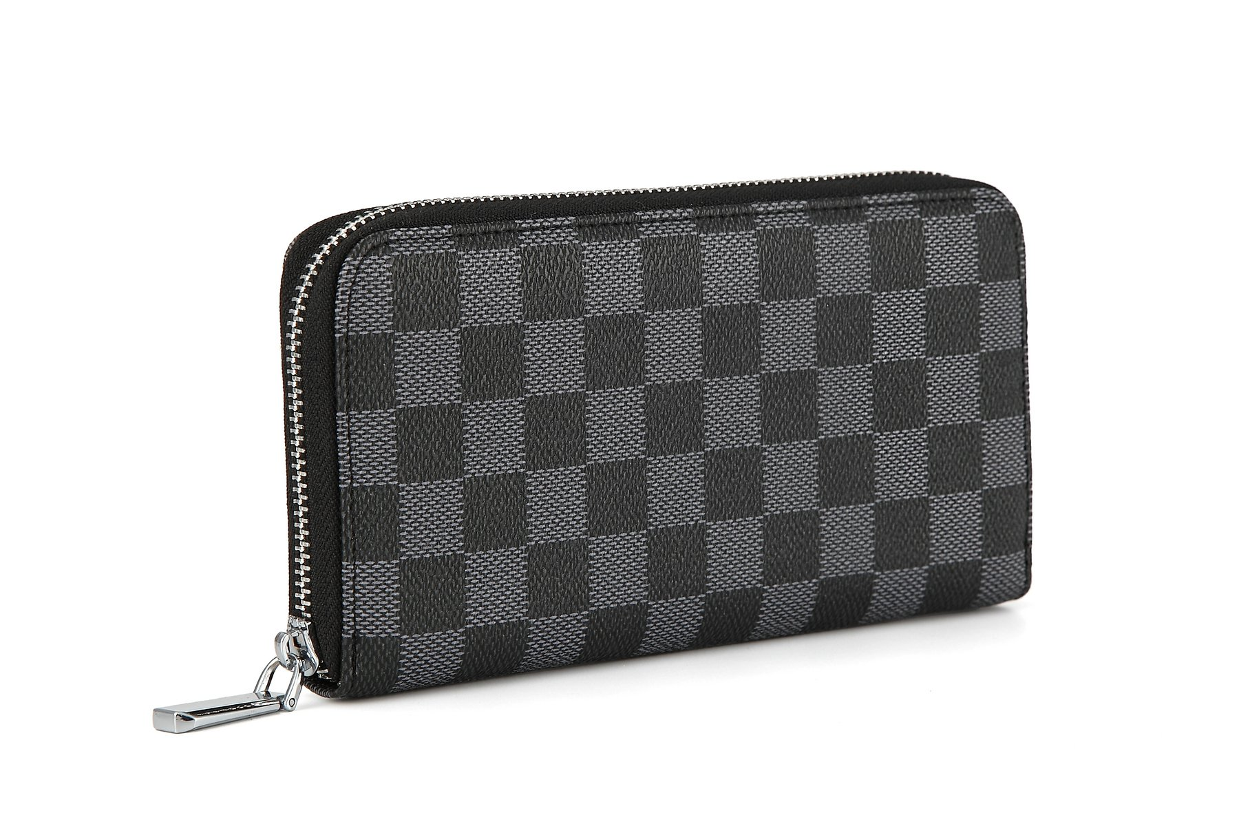 Daisy Rose Women's Checkered Zip Around Wallet and Phone Clutch - RFID Blocking with Card Holder Organizer -PU Vegan Leather, Black by Daisy Rose