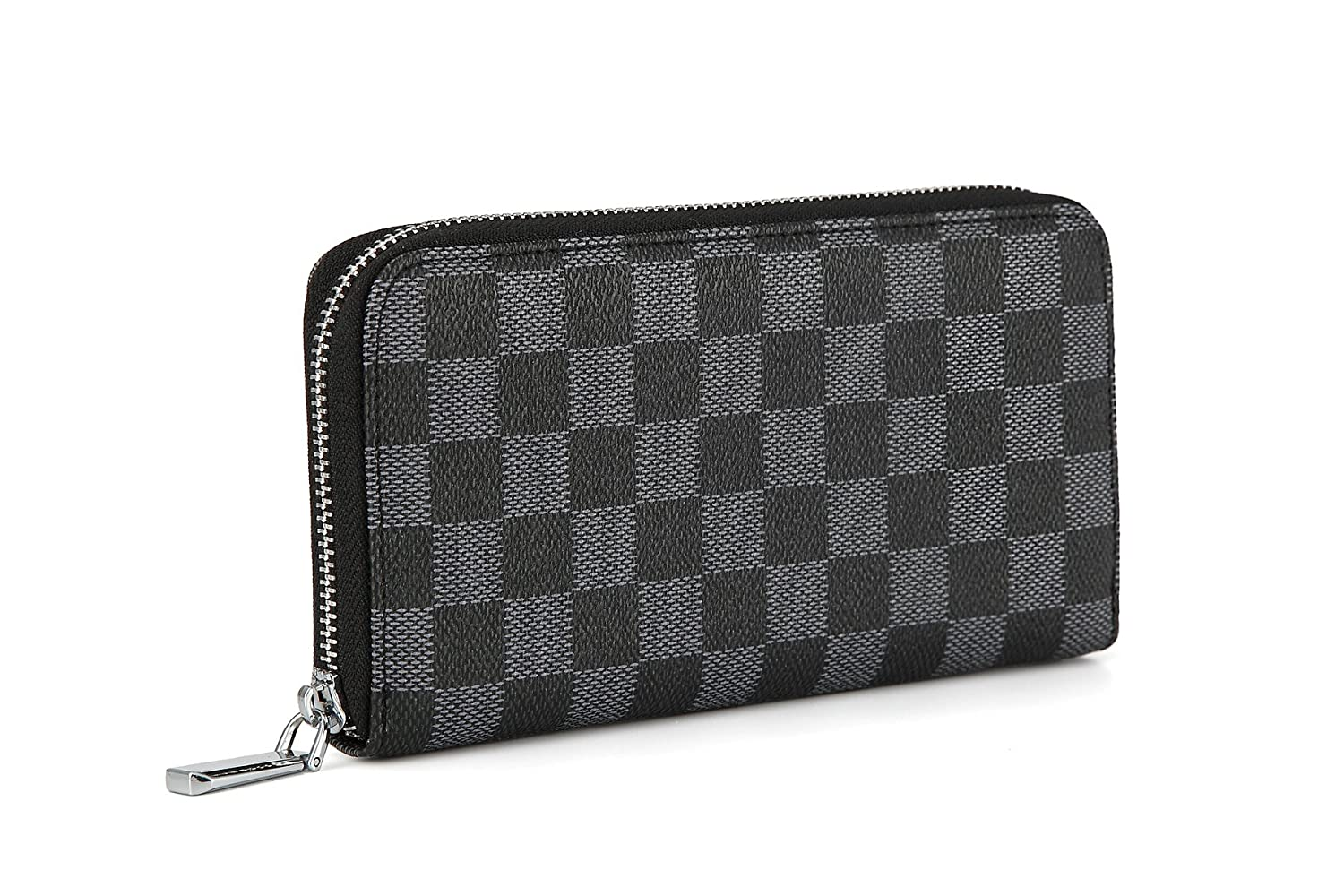 618da07355ad Daisy Rose Women s Checkered Zip Around Wallet and Phone Clutch - RFID  Blocking with Card Holder Organizer -PU Vegan Leather