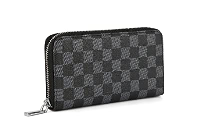 136215db2c14 Daisy Rose Women's Checkered Zip Around Wallet and Phone Clutch - RFID  Blocking with Card Holder Organizer -PU Vegan Leather
