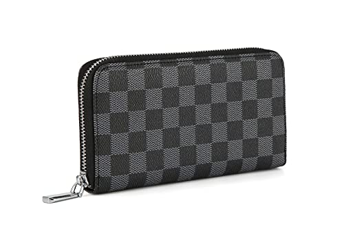 promo code 6e3d8 2fb96 Daisy Rose Women's Checkered Zip Around Wallet and Phone Clutch - RFID  Blocking with Card Holder Organizer -PU Vegan Leather