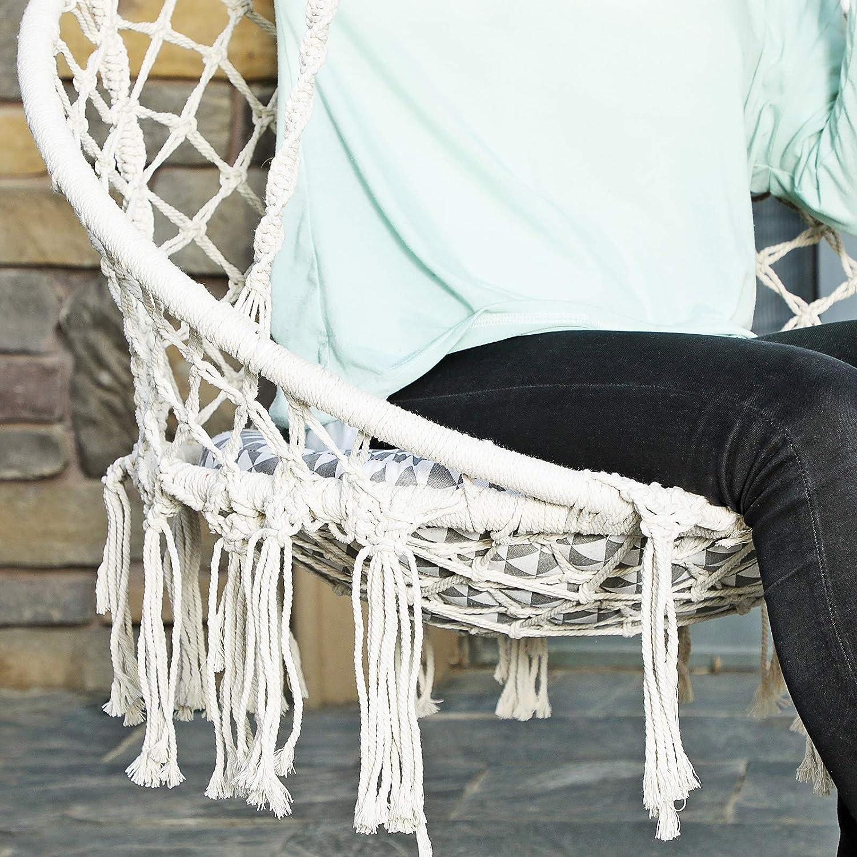 150KG Jardin Balcon Charge Max Cour Costway Chaise Suspendue,Hamac Relaxation,Fauteuil de Jardin 1 Place Tricot/ée par Corde de Coton avec des Franges Romantiques de Style Nordique pour Salon