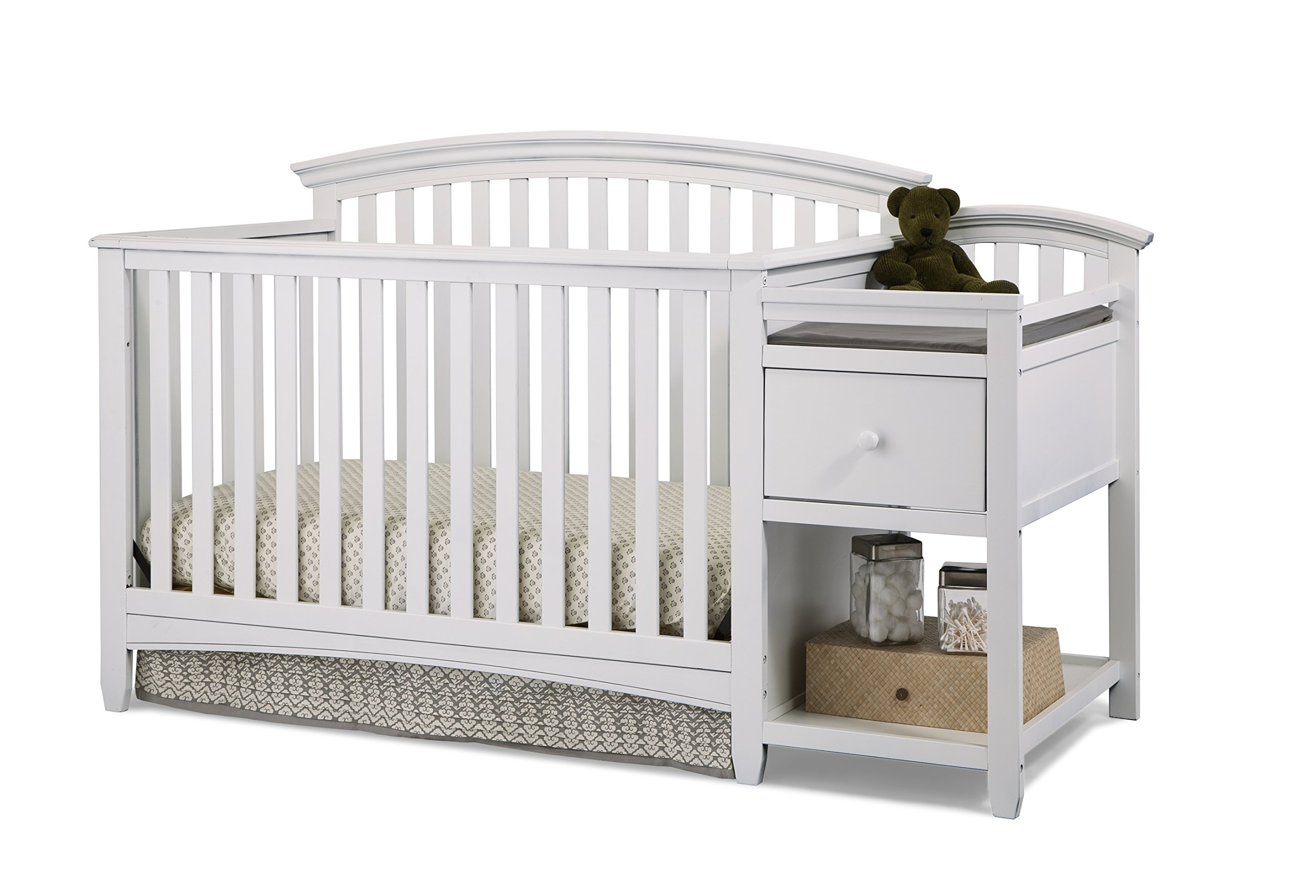 Imagio Baby Montville 4-in-1 Crib and Changer Combo with Pad, White
