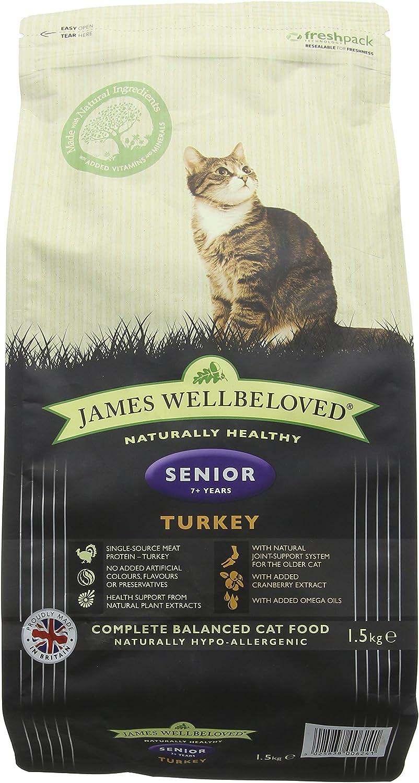 James Wellbeloved Alimento seco Completo para Gatos Adultos Adultos Pavo y arroz, 3 Libras
