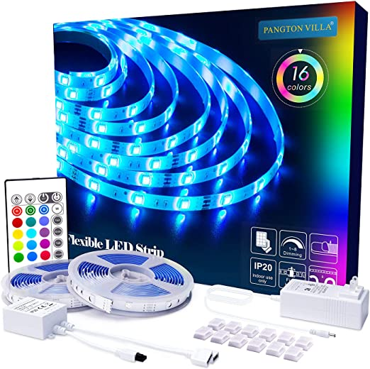 Pangton Villa Led Strip Lights 32 8ft With Remote And 3a Power Supply Smd 5050 Color Changing Led Strip Light Kit For Room Kitchen Bedroom Home