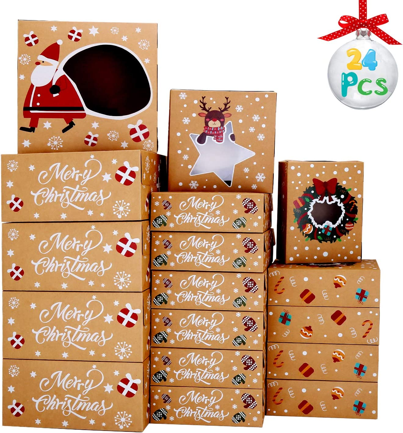 VEYLIN Christmas Cookie Pastry Box, Holiday Cookie Boxes with Transparent Window for Goody Cookie Cupcake Bakery(24Pack)