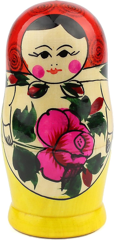 Heka Naturals Matryoshka Bambole di nidificazione Russe Semenov Babushka Classico Fatto a Mano in Russia 5 Pezzi 12 cm Giocattolo di Legno Rosso in Legno Superiore