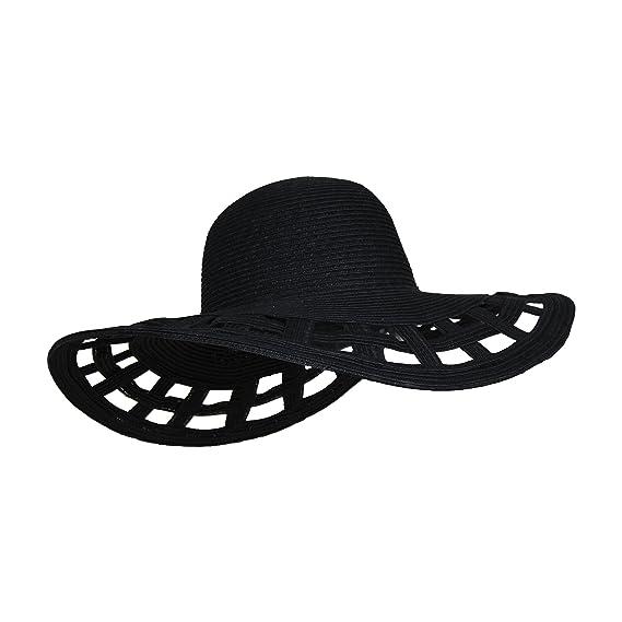 f3029ed3 Cute Straw Derby Sun Hat w/Square Cut-Outs, Wide Brim Floppy Beach Cap -  Black -: Amazon.co.uk: Clothing