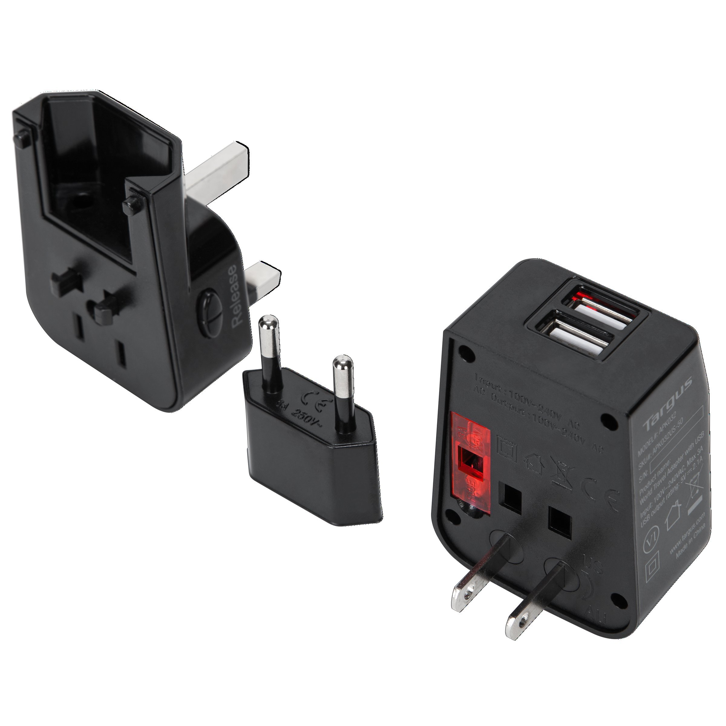 Targus World Travel Power Adapter with Dual USB Charging Ports for Laptops, Phones, Tablets, or Other Mobile Devices (APK032US) by Targus (Image #2)