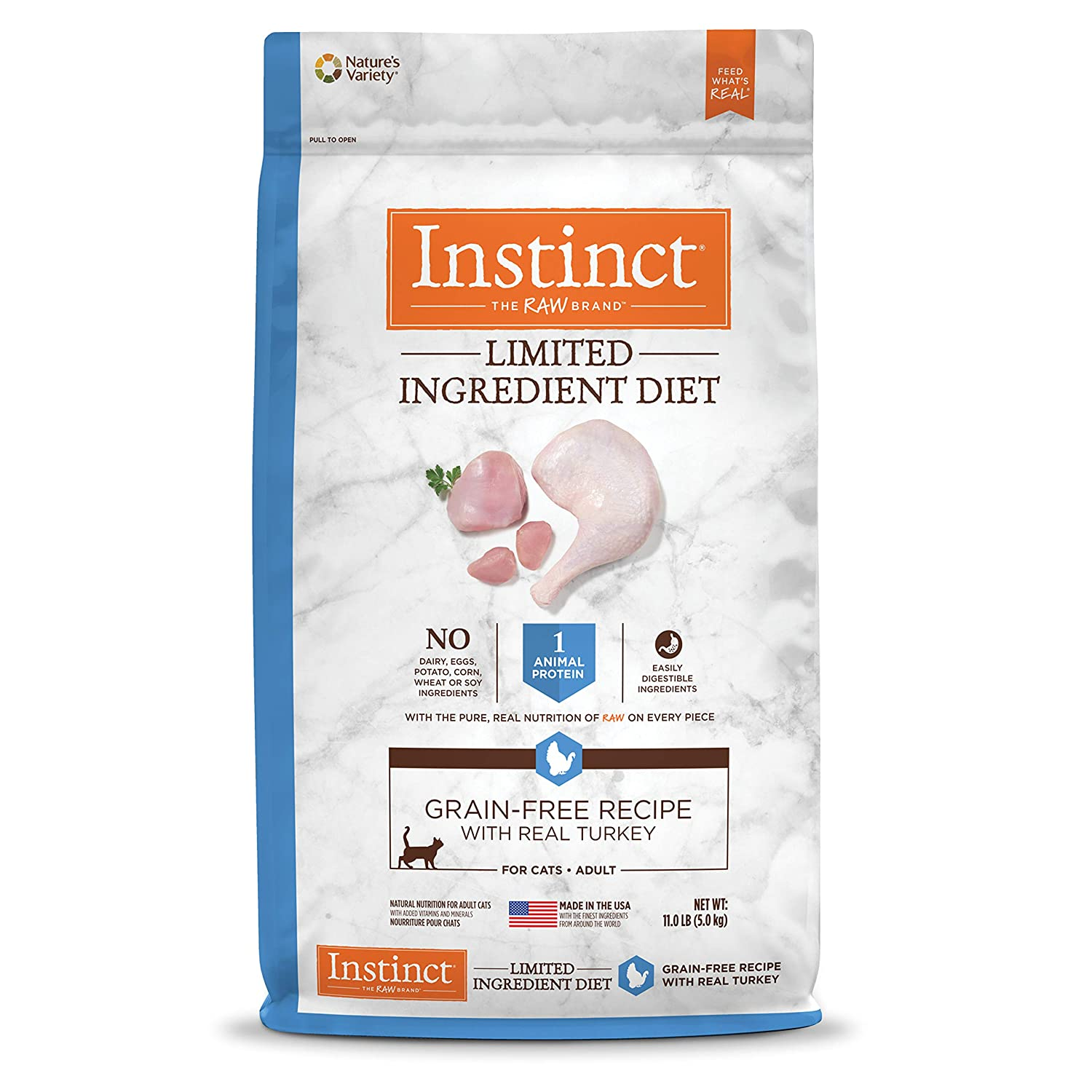 11 lb Instinct Limited Ingredient Diet Grain Free Recipe with Real Turkey Natural Dry Cat Food by Nature's Variety, 11 Lb. Bag
