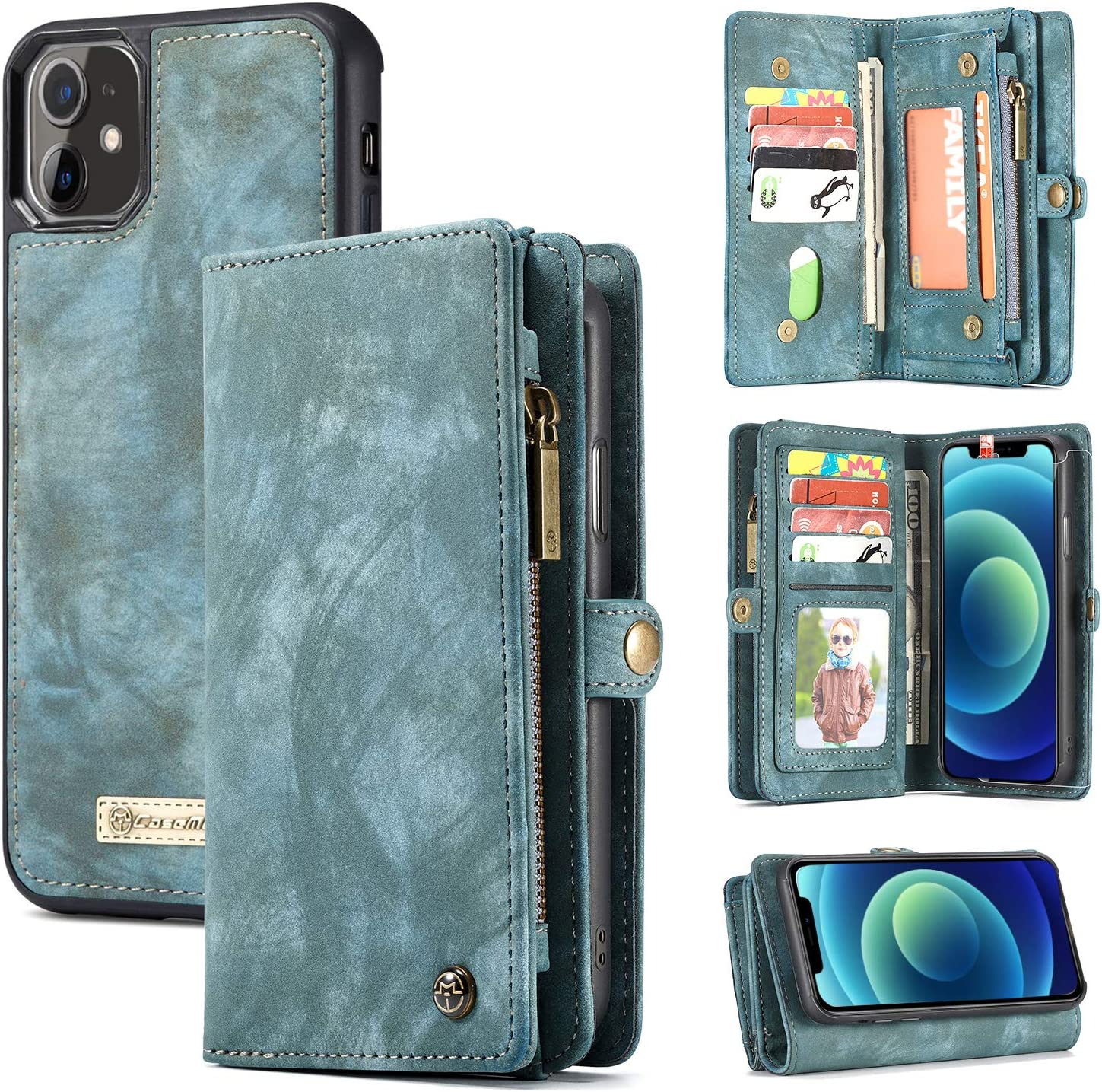 Zttopo Wallet Case Compatible with iPhone 12/12 Pro, 2 in 1 Leather Zipper Detachable Magnetic 11 Card Slots Card Slots with Screen Protector for iPhone Case Wallet 6.1 Inch (Blue-Green)