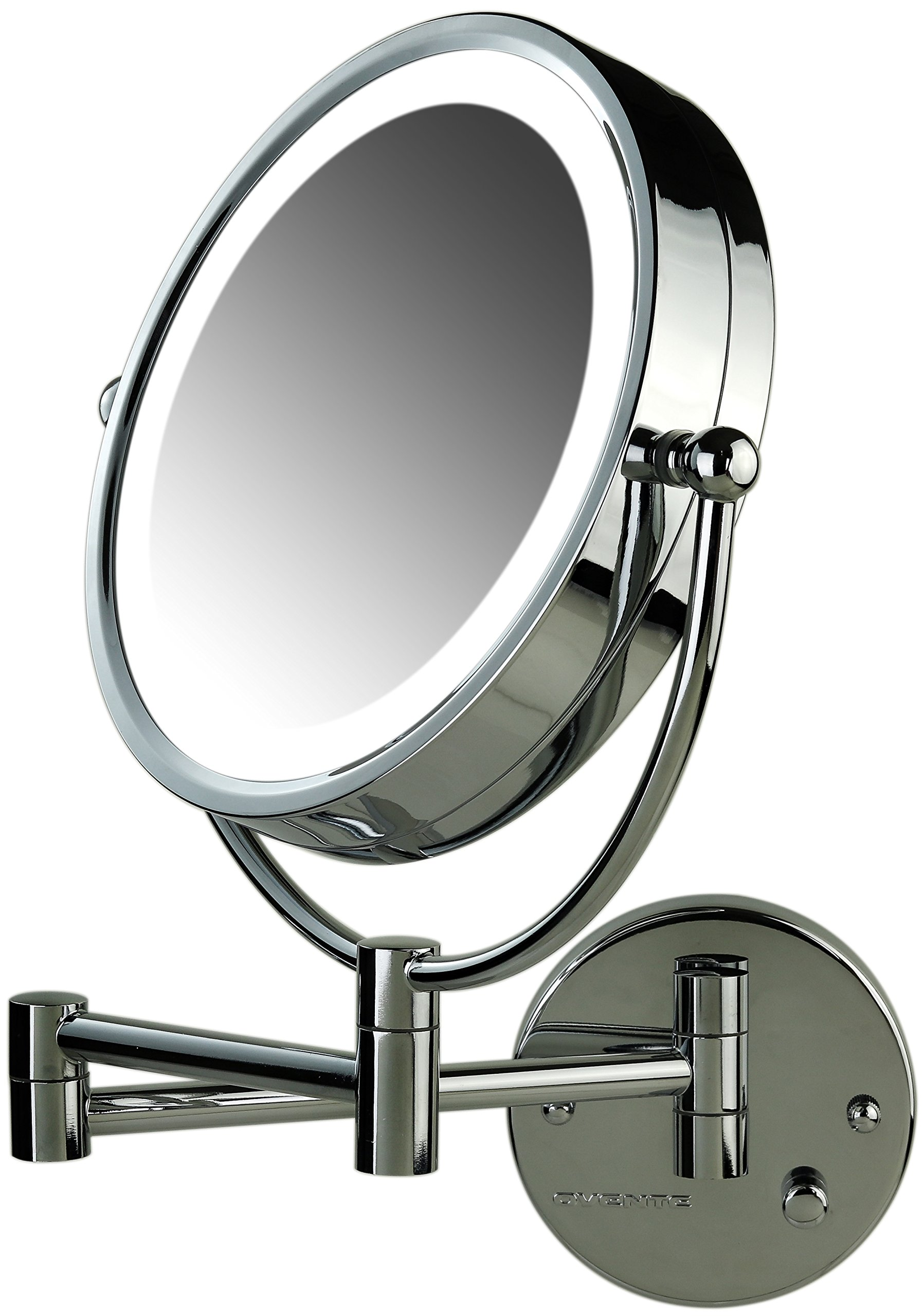 Ovente Lighted Wall Mount Mirror, 8.5 Inch, Dual-Sided 1x/7x Magnification, Hardwired Electrical Connection, Natural White LED Lights, 9-Watts, Polished Chrome (MPWD3185CH1X7X) by Ovente (Image #2)