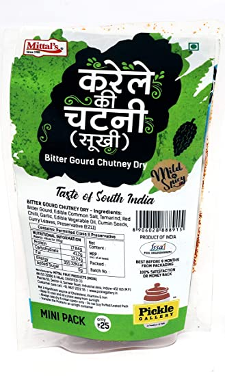 PICKLE GALLERY Mittal's Dry Bittergourd Karela Chutney Pouch - 100gm Each (Pack of 2)