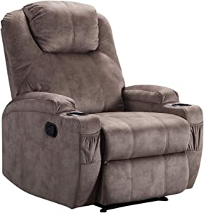 Merax Recliner Chair Lazy Boy Sofa, Manual Ergonomic Design with 2 Cup Holders for Living Room, Camel