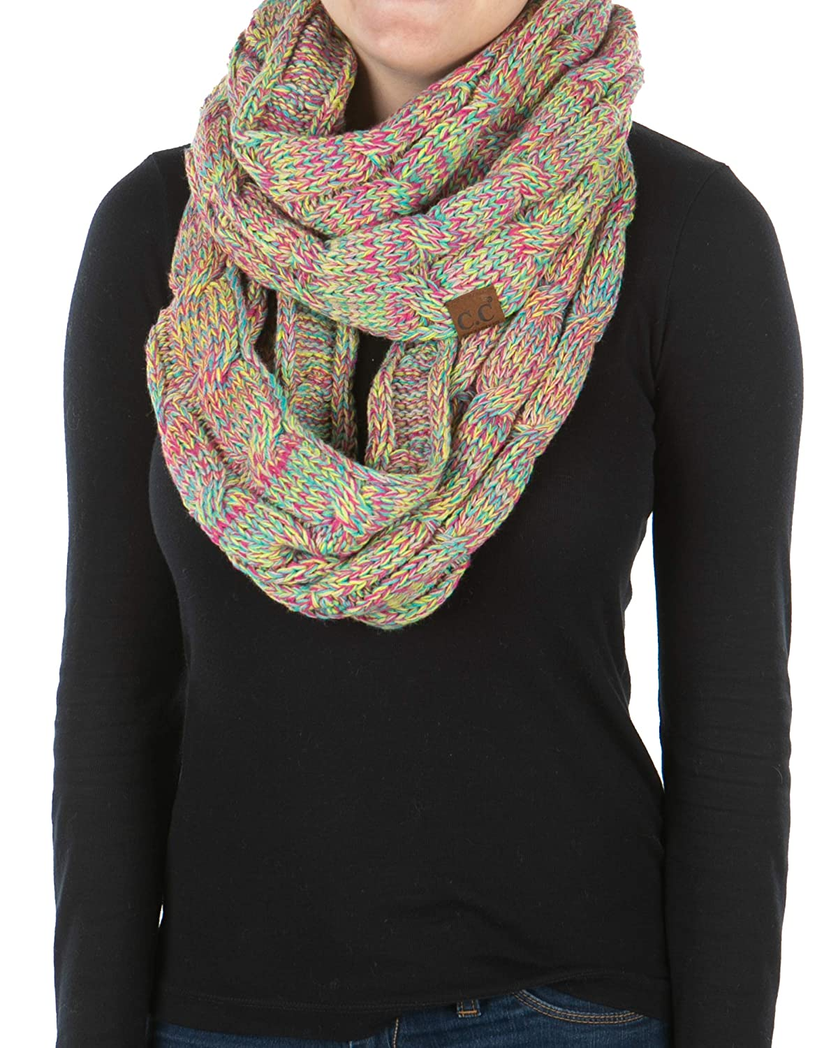 Funky Junque Exclusives Infinity Scarf Womens Winter Warm Cable Knit Circle Wrap
