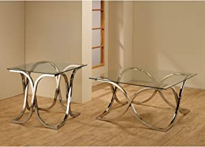 Coaster 701917-CO Glass Top End Table, In Chrome