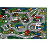 "Fun Time Country Fun Kids Road Rug Size: 4'3"" x 6'6"""