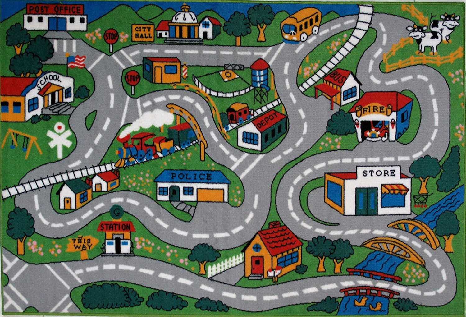 amazoncom fun time country fun kids road rug size 4u00273