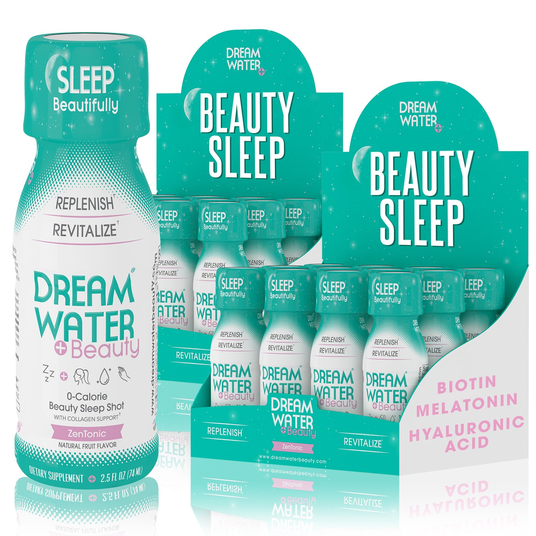Dream Water Beauty Sleep Aid, Natural Melatonin, Biotin, Juvecol, 2.5oz Shot, 24 CT