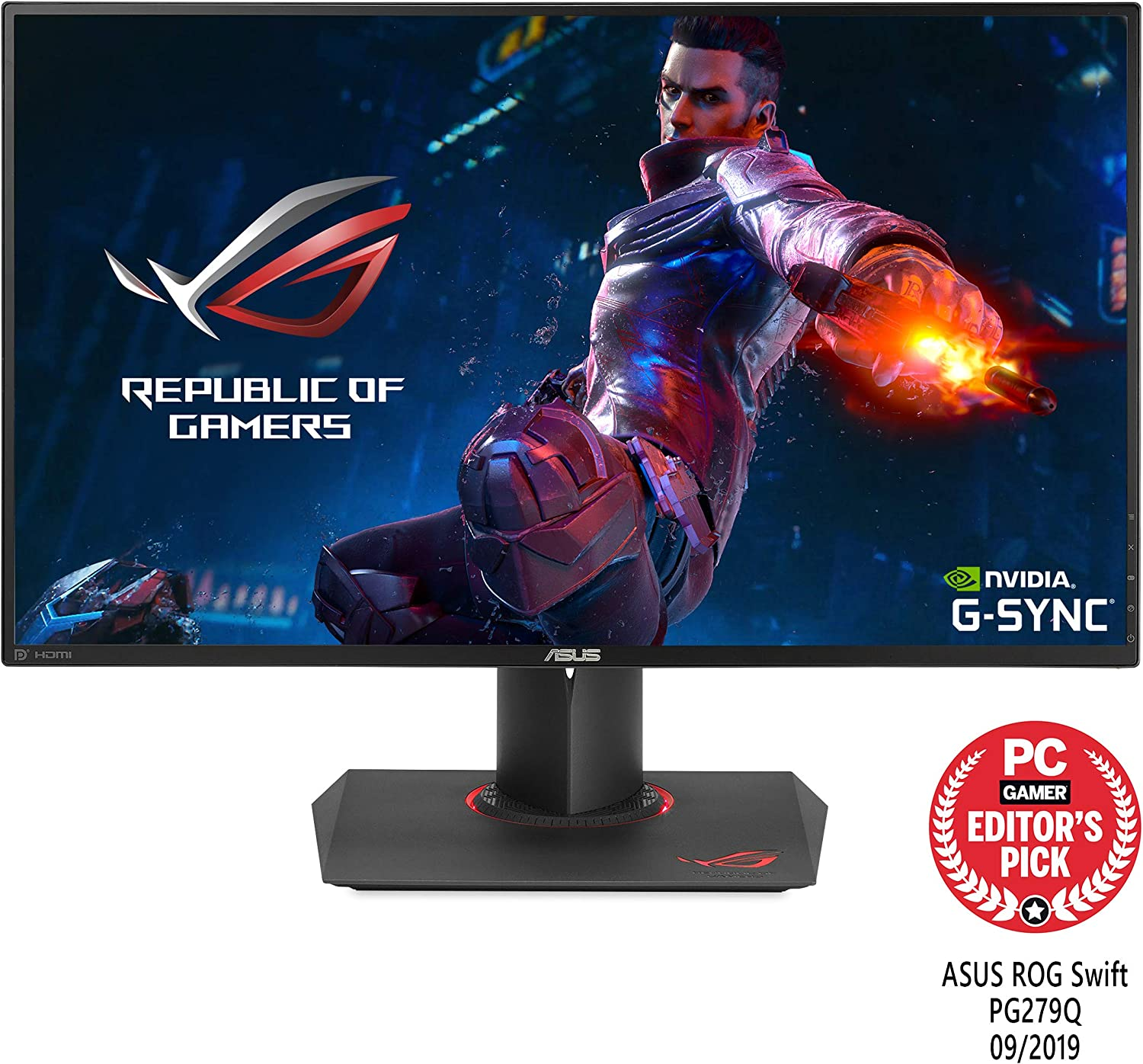 "Asus ROG Swift PG279Q 27"" Gaming Monitor, 1440P WQHD (2560 x 1440), IPS, 165Hz (Supports 144Hz), G-SYNC, Eye Care, DisplayPort Adjustable Ergonomic"