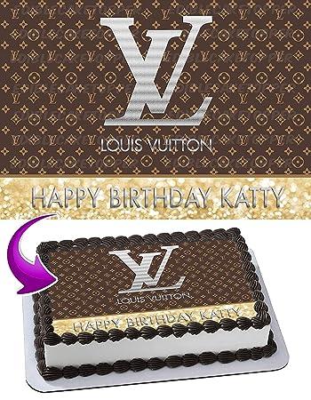 Louis Vuitton Edible Cake Topper Personalized Birthday 1 2 Size