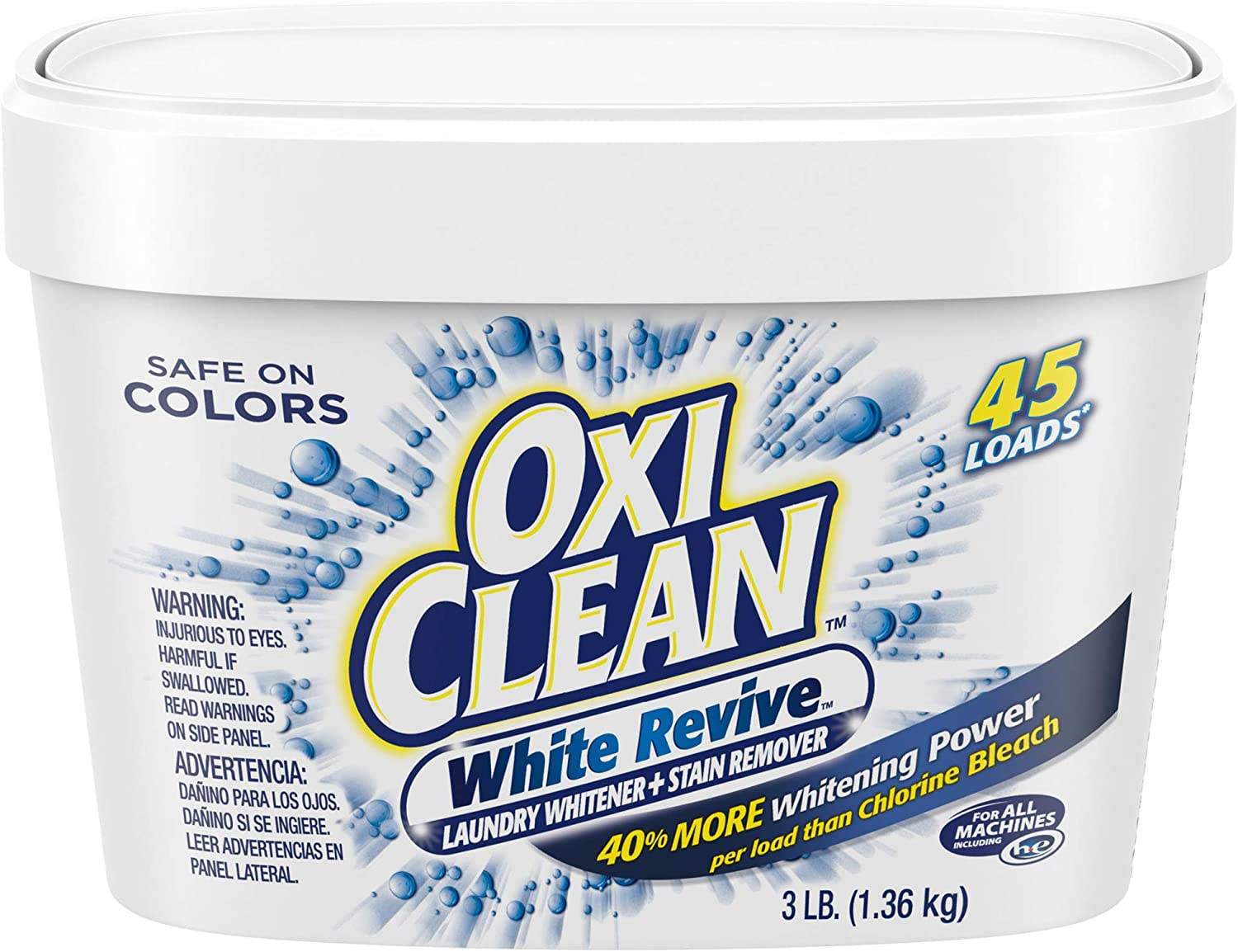 OxiClean White Revive Laundry Whitener + Stain Remover, 3 Pound