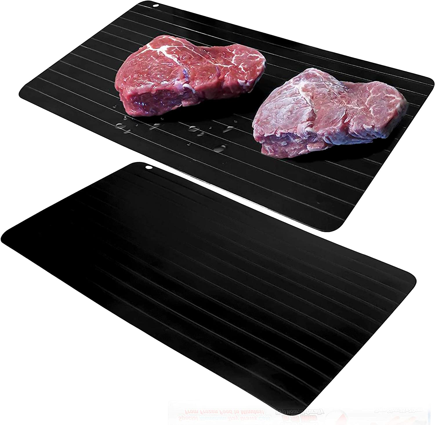2 PACK Defrosting Tray Plate, Meat Thawing Board, Natural Eco-Friendly Defroster Mat No Electricity No Chemicals Needed Apply For Rapid and Fast Defrost Meat and Frozen Food (Large Size 14x8In)