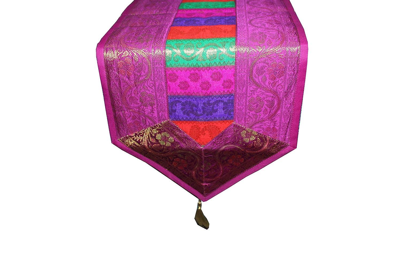 rajwada-fashion Indian Ethnic Handmade Designer Silk Table Runners Wedding Party Decoration Kitchen Decor 68 X 12 Inches Purple Perfect for Christmas