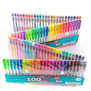 Amazon.com: 100 Gel Pen Coloring Set - Neon, Fluorescent, Glitter ...