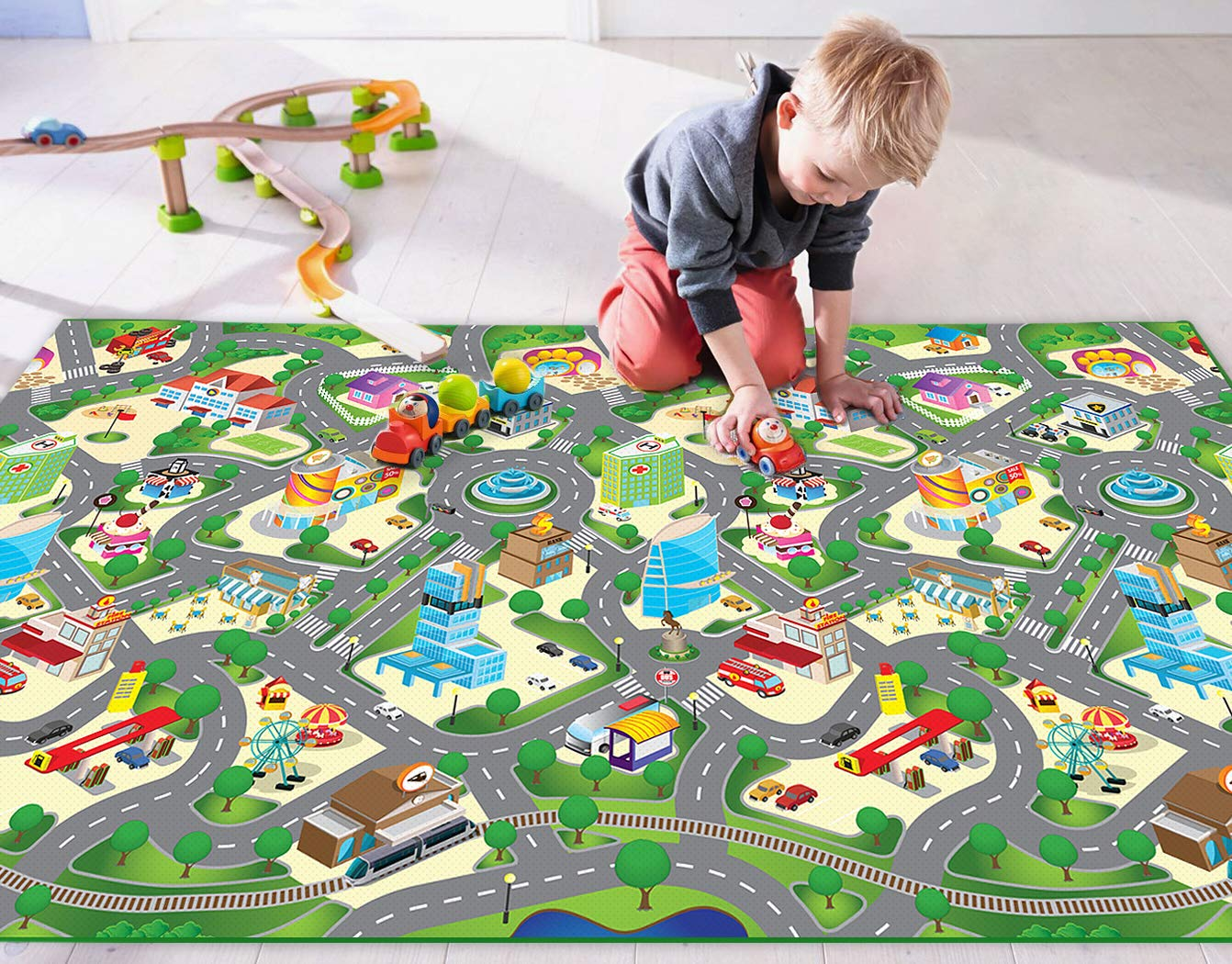 Doodoo Play Mat Collections for Kids Toddler Child Baby, Large 79inch X 47inch, EVA, Superior Quality, Waterproof, Anti Slip, Easy Storage, Padded Soft Base, Educational, Stimulates Imagination