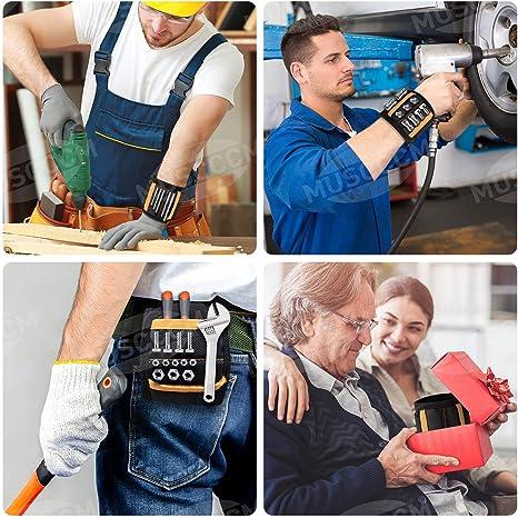 Tool Cadeau pour DIY Handyman Cadeau Fete des Pere R/églable avec 20 Aimants Super Puissants pour Vis Clous Tr/épans de Forage,Idee Cadeau Homme Papa Anniversaire MUSCCCM Bracelet Magn/étique