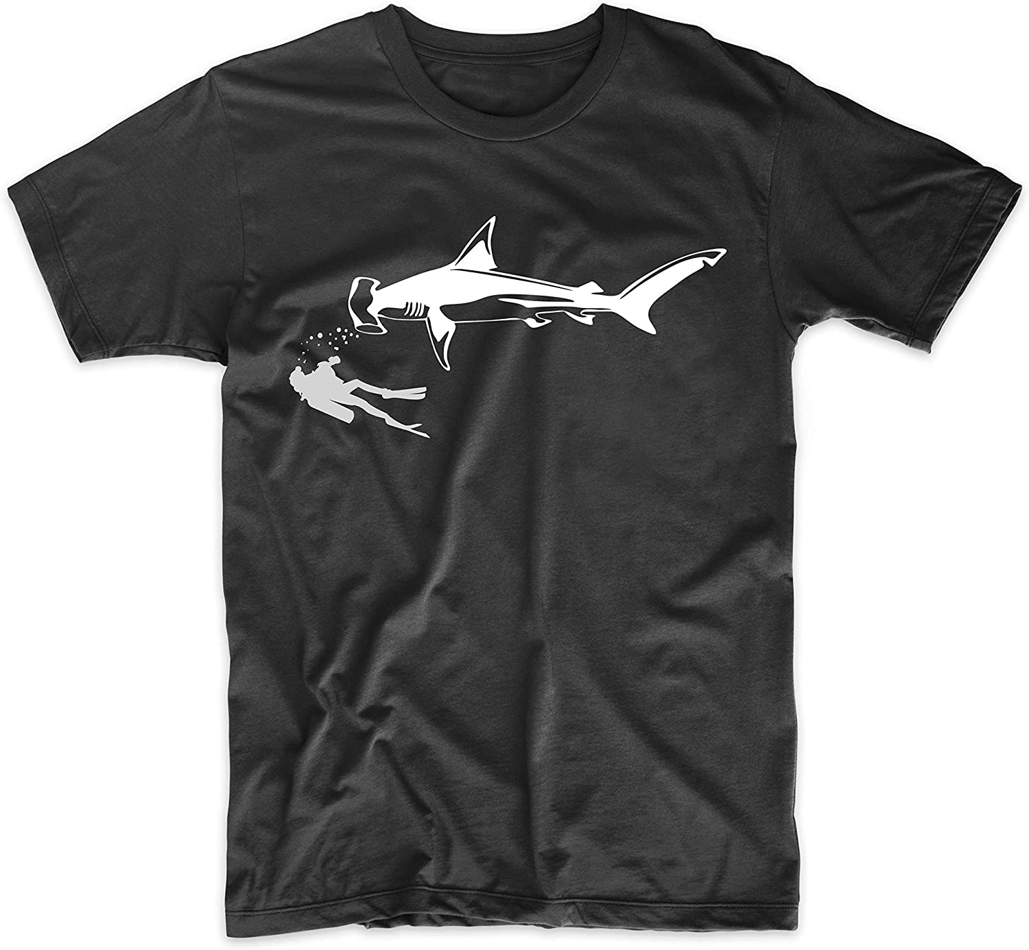 Scuba Diver Swimming with Great Hammerhead Shark T-Shirt