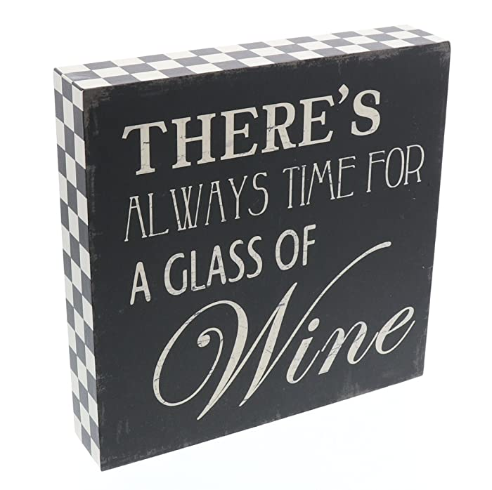 """Barnyard Designs There is Always Time for a Glass of Wine Wooden Box Wall Art Sign, Primitive Country Farmhouse Home Decor Sign with Sayings 8"""" x 8"""""""